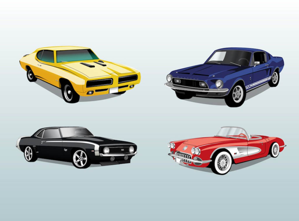 17 Retro Cars Vector Images
