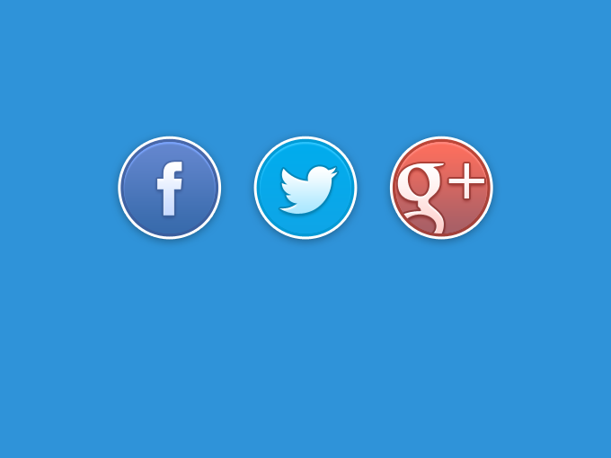18 Social Buttons PSD Images