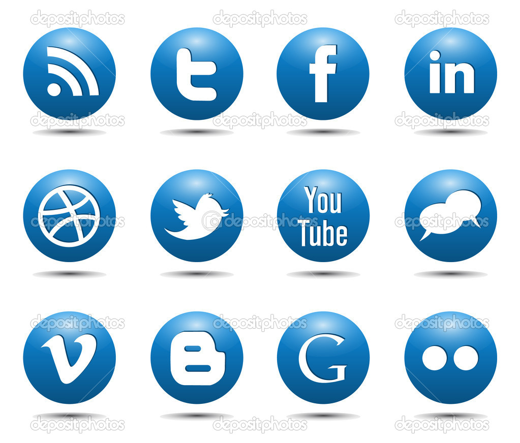 18 Blue Social Icons Images
