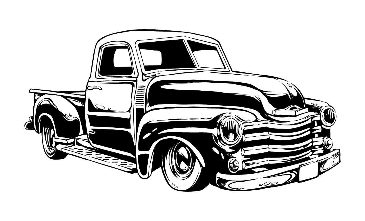 Vintage car outline vector 12