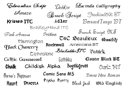 8 Most Popular Font Styles Images Script Style Font