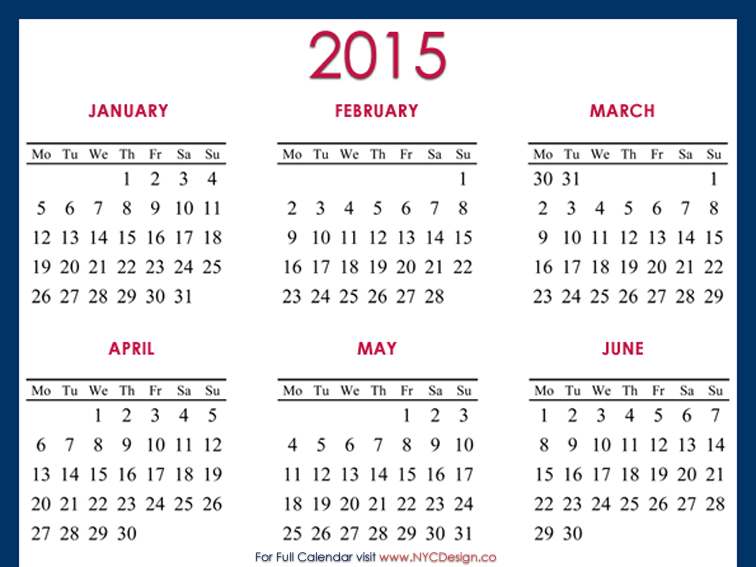 2015 Calendar Printable 8 X 10 Vertical
