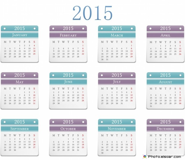 2015 Horizontal Calendar Design