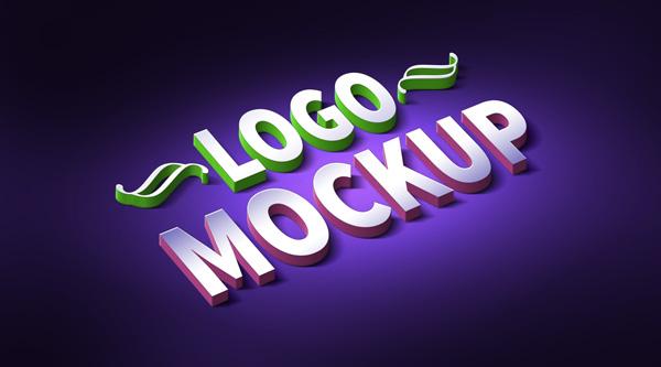 3D Logo Mockup PSD Template