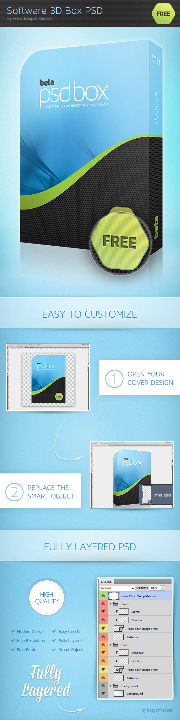 3D Software Box PSD Photoshop