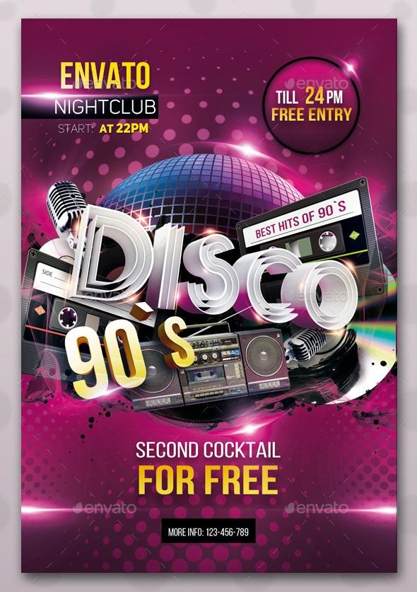 90s Themed Nightclub Flyer Mersnoforum
