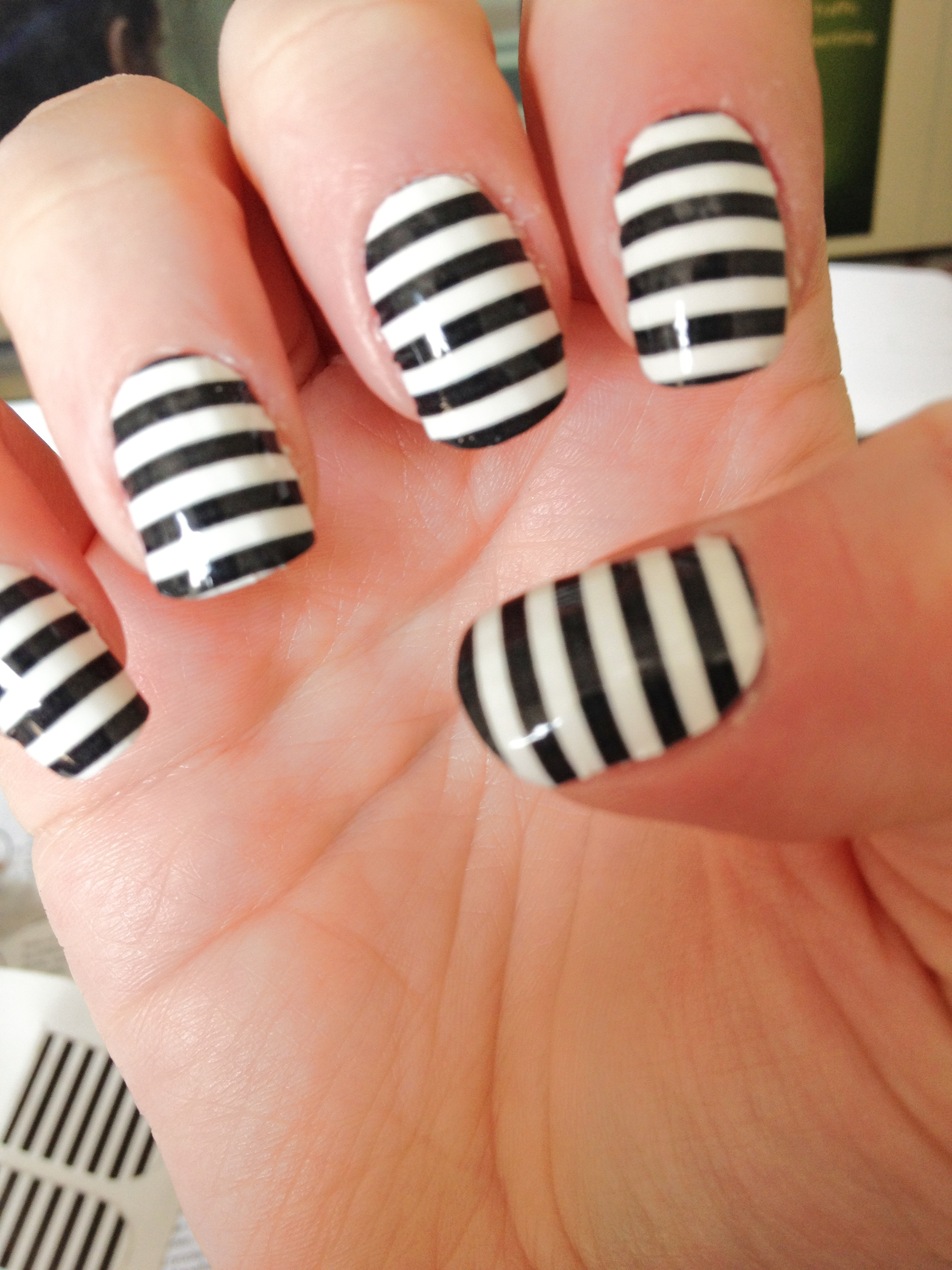 15 Black And White Stripe Nail Designs Images