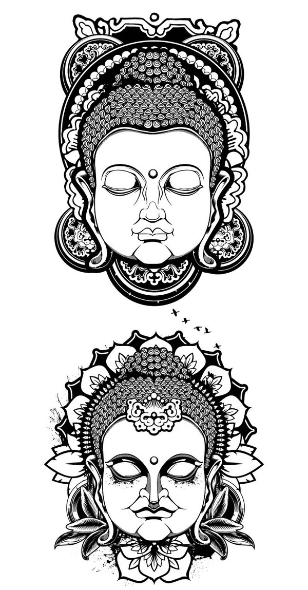 12 Buddha Head Vector Graphics Images