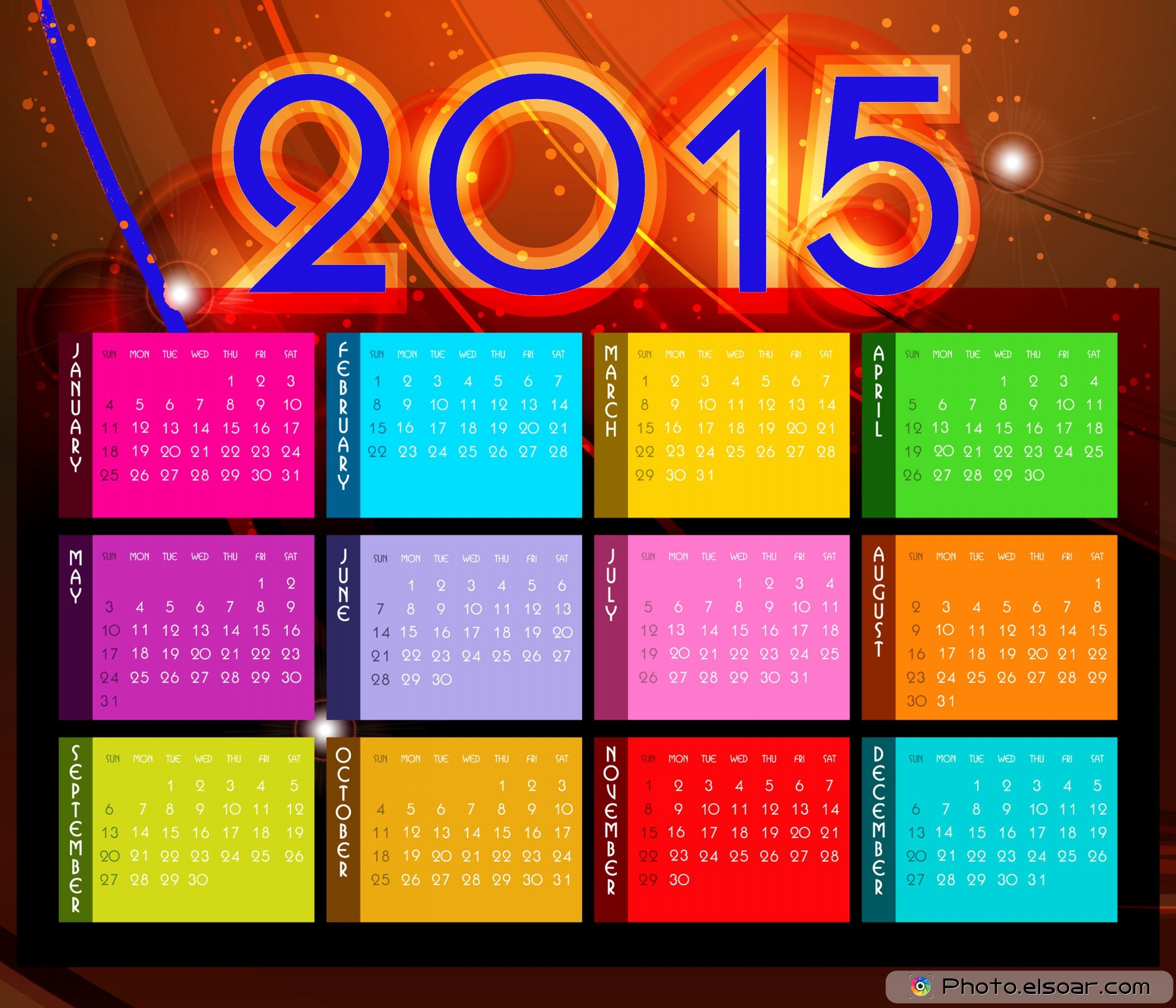 Calendar 2015 Printable Color