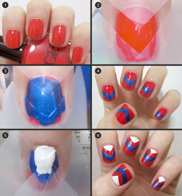Chevron Nail Design Step by Step