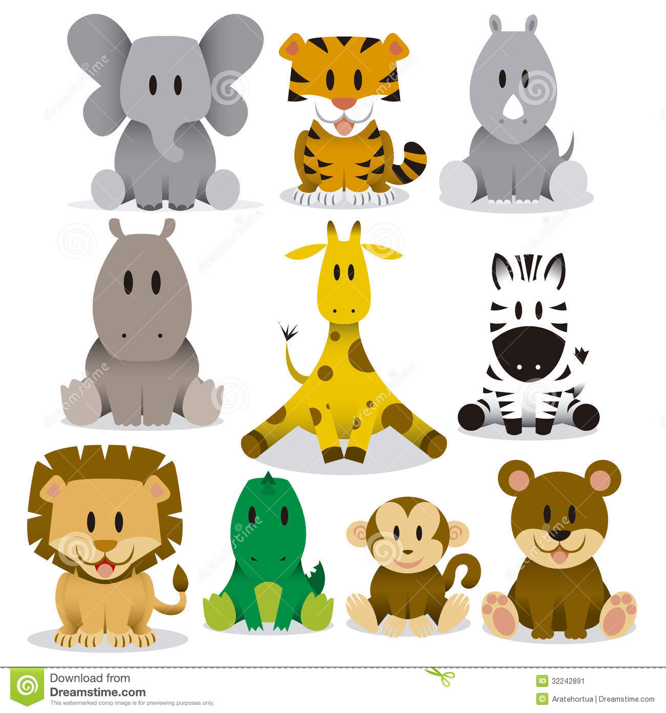 9 Cartoon Wild Animals Vector Images