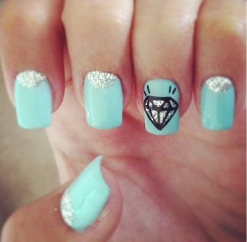 Cute Nails With Diamonds Tumblr