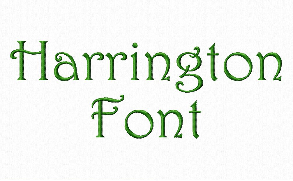 Embroidery Machine Harrington Font