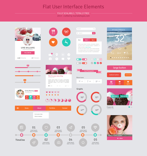 13 Flat Design UI Elements PSD Images