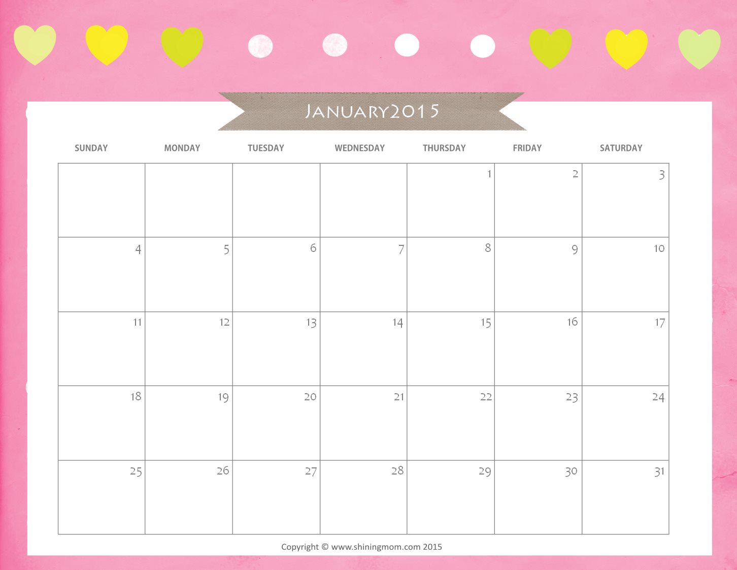 Free Cute Printable January 2015 Calendar