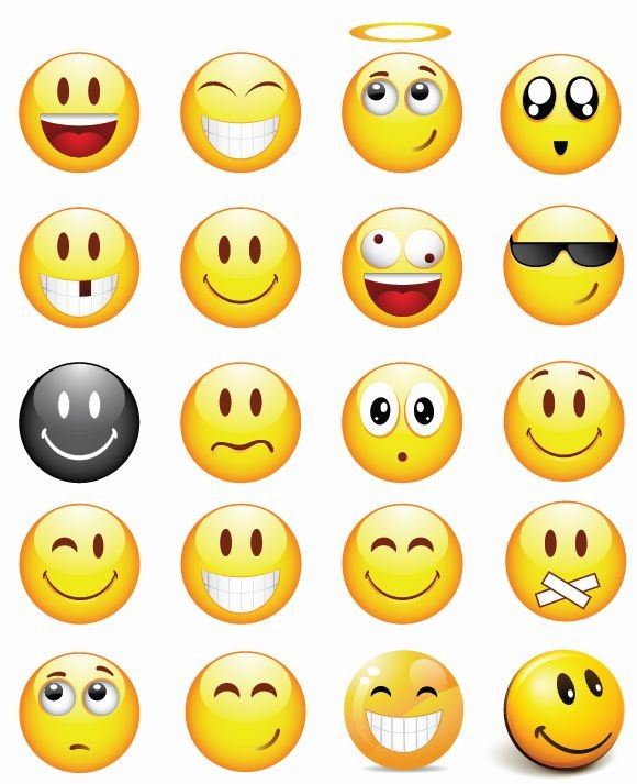 18 Emoticons Icons Set Free Images