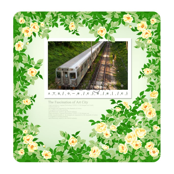 Green Flower Frames Psd