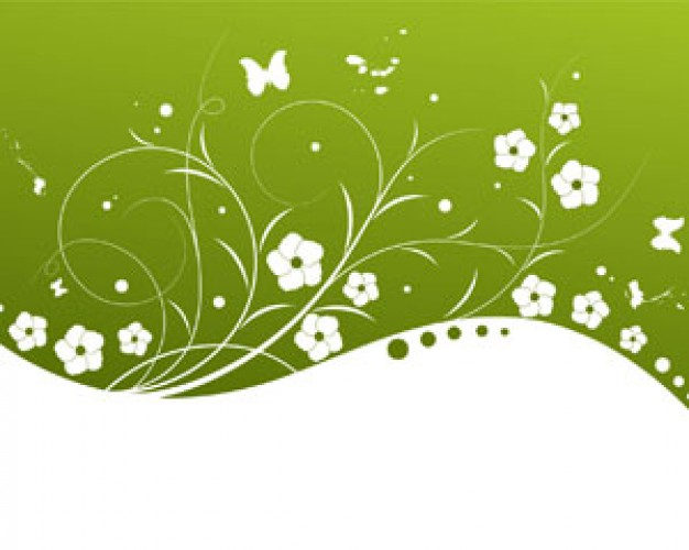 Green Flowers Vector Background