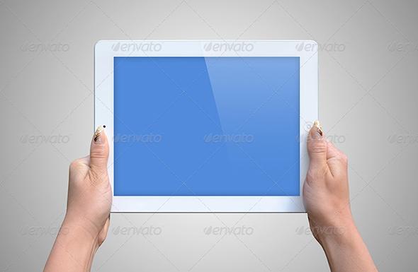 Hands Holding iPad PSD Mockup Free