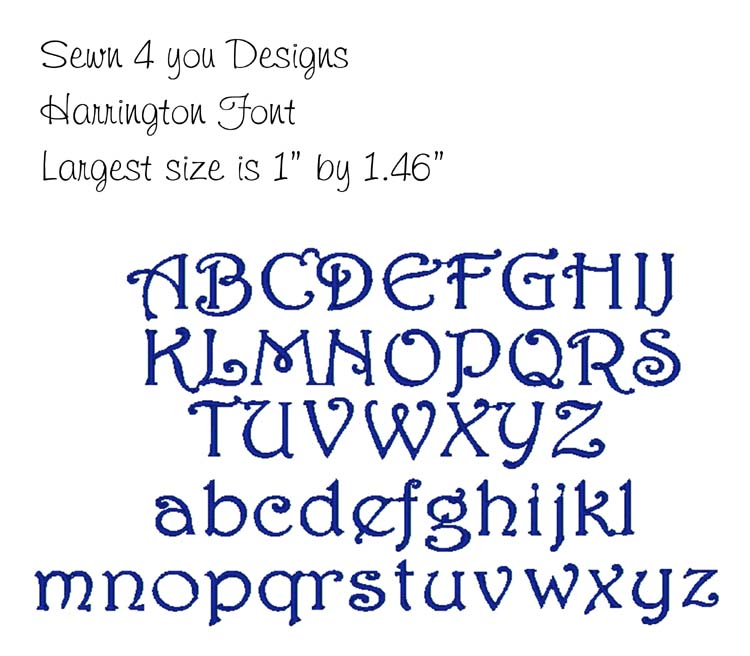 Harrington Embroidery Fonts Designs