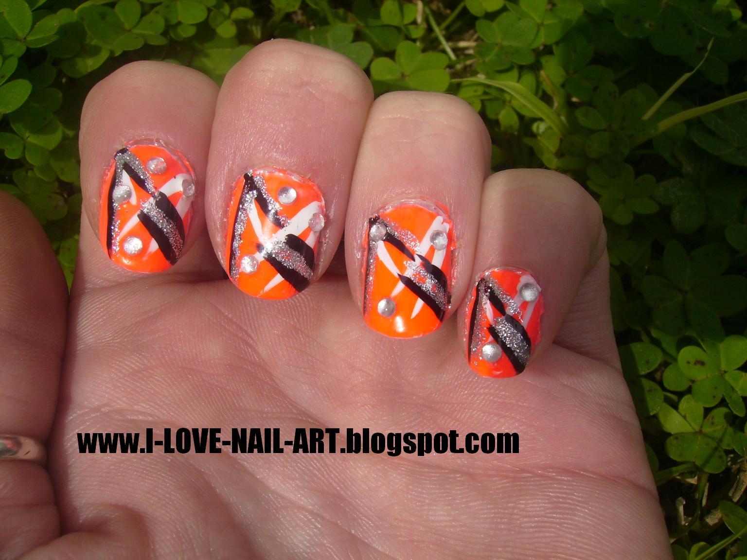 16 Dark Orange Nail Designs Images - Orange and Black Acrylic Nail ...