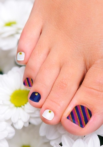 Pink and White Toenail Design