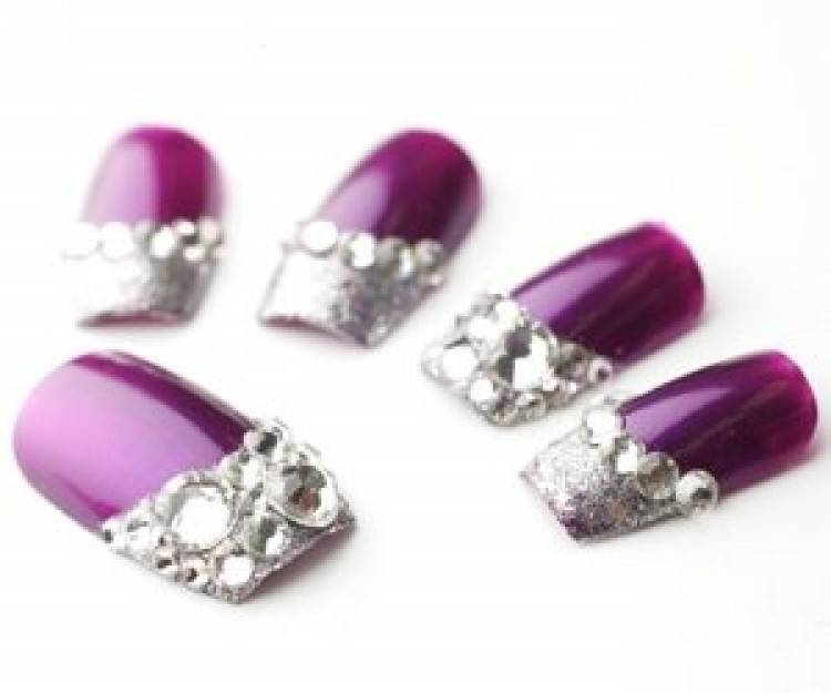 10 Purple Nail Designs With Gems Images