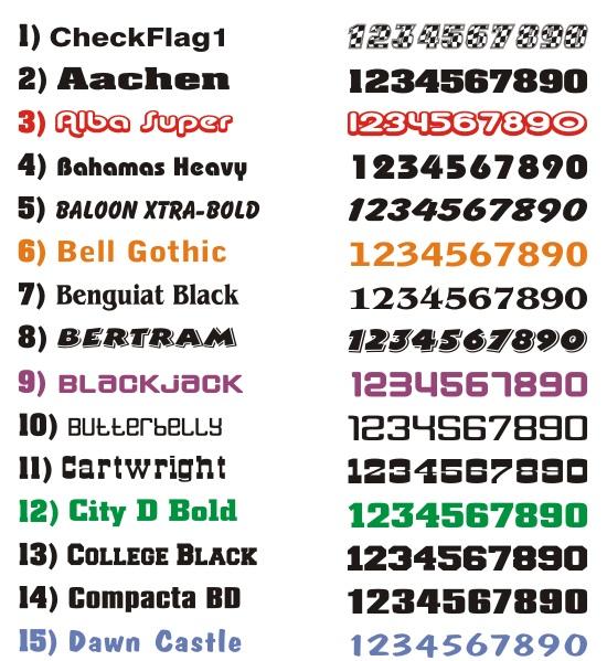 Race Car Number Fonts