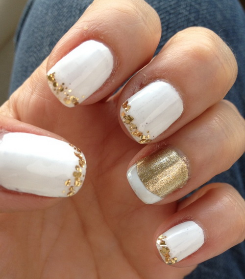18 White And Gold Nail Designs Images