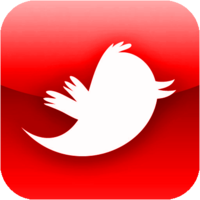 Black and Red Twitter Icon