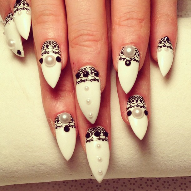 Black and White Stiletto Nails Tumblr