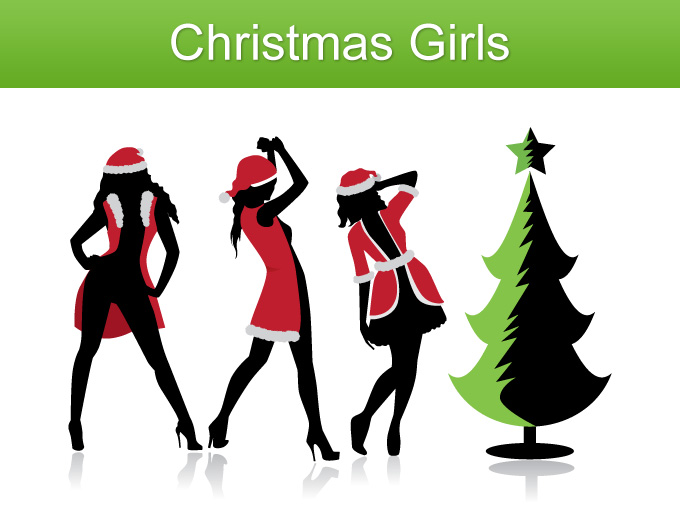 Christmas Girl Silhouette