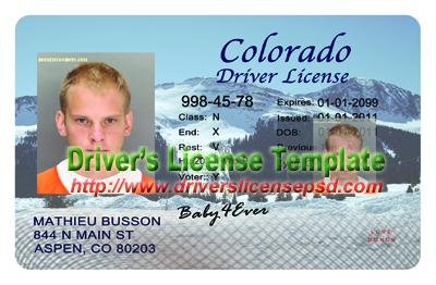 Colorado Drivers License Template