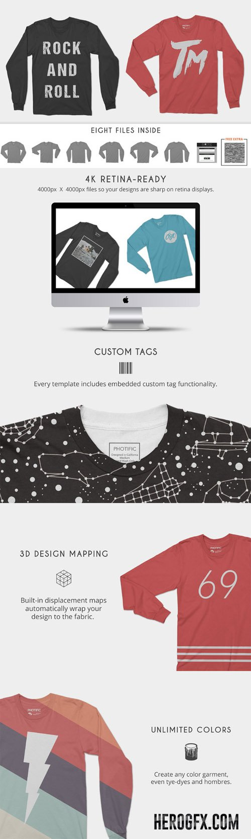 Long Sleeve T-Shirts Mock Up Psd
