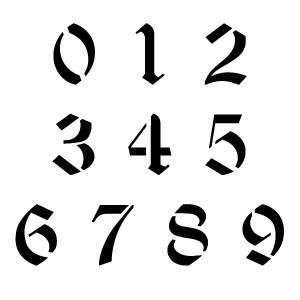 Old English Number Stencils