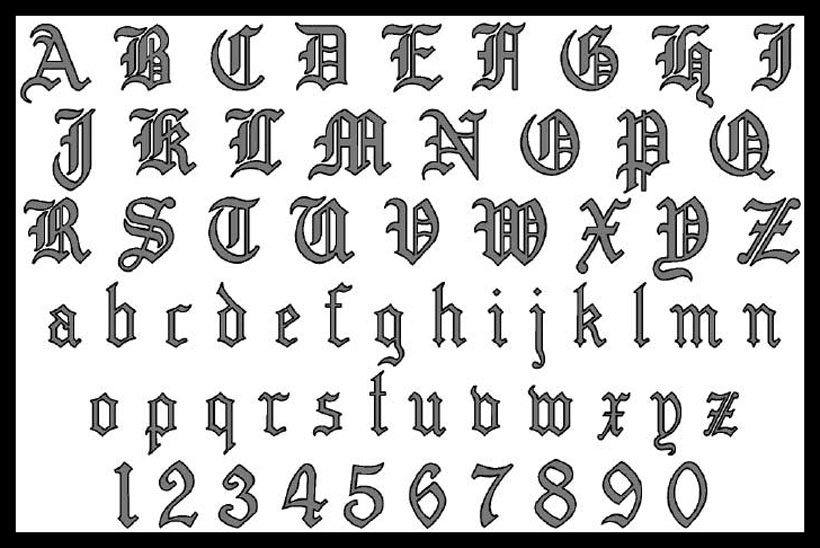 8 Old English Font Styles Numbers Images