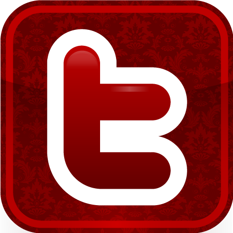 Red Facebook and Twitter Icons