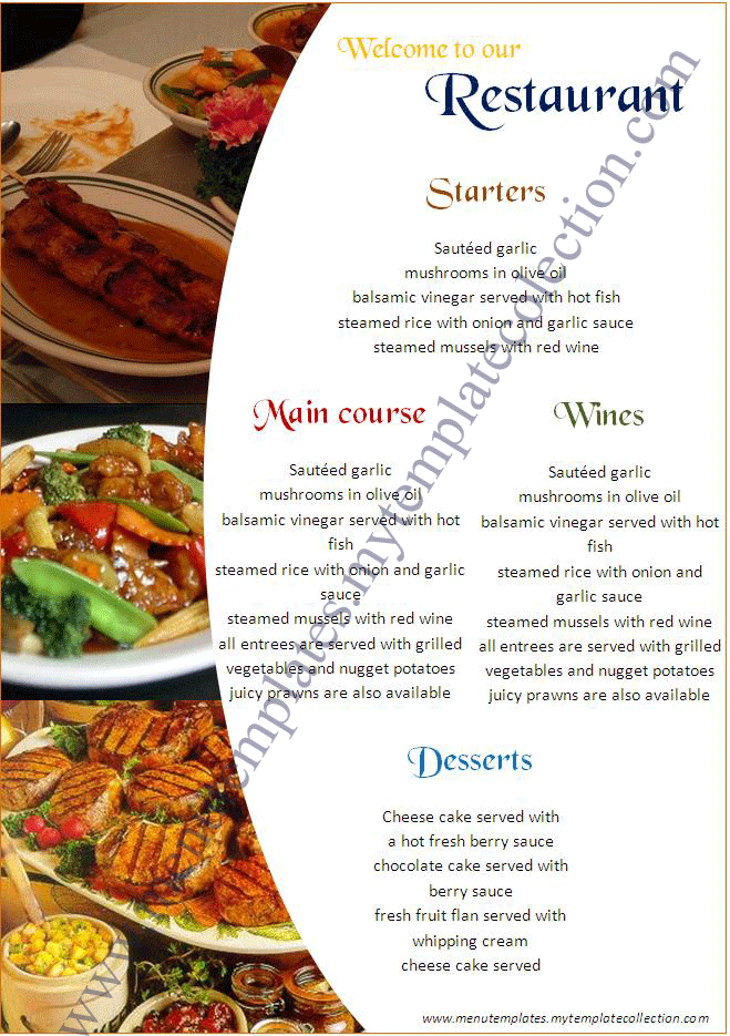 13 Menu Design Samples Images Restaurant Menu Examples Restaurant