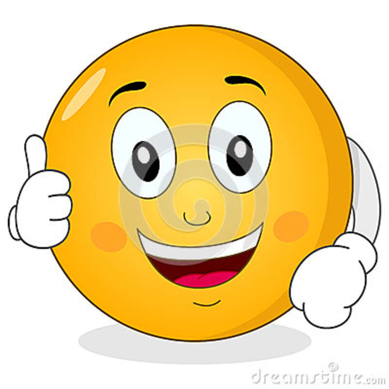 Smiley Face with Thumbs Up Cartoon