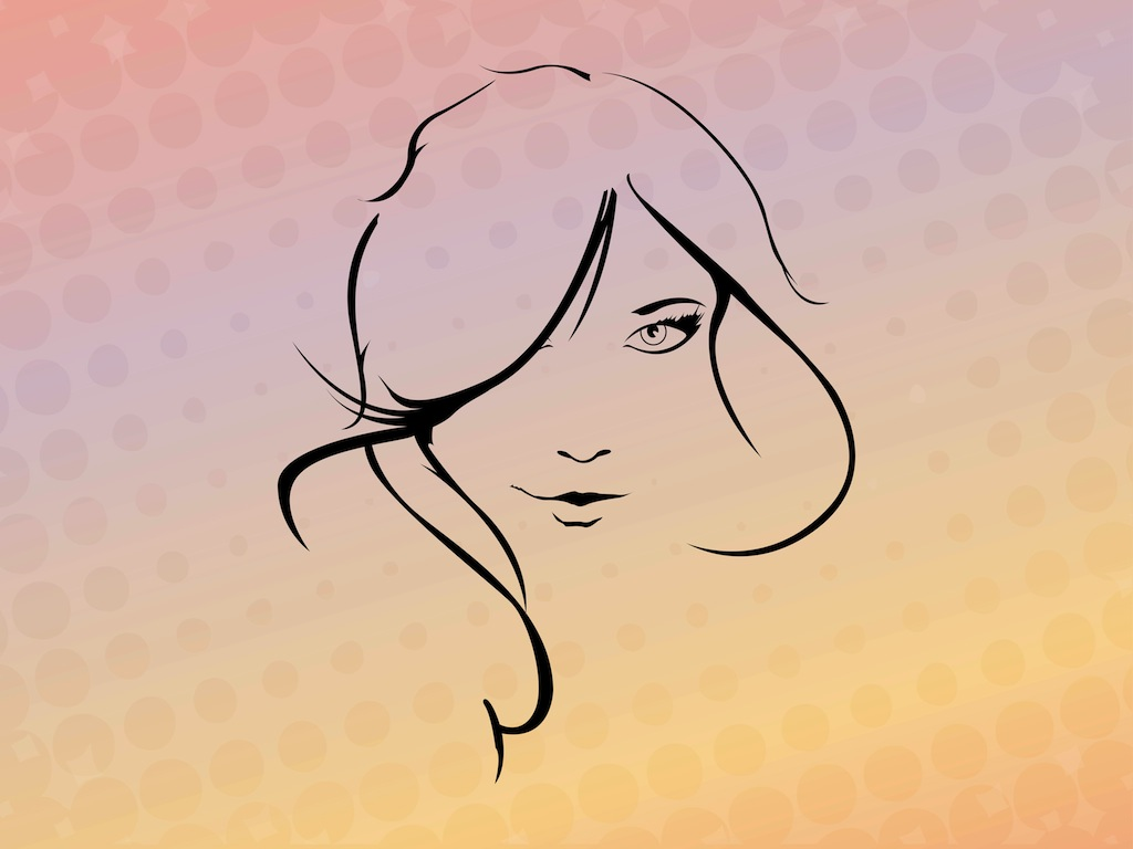 Line Drawing Face Vector : Woman face vector images female outline template