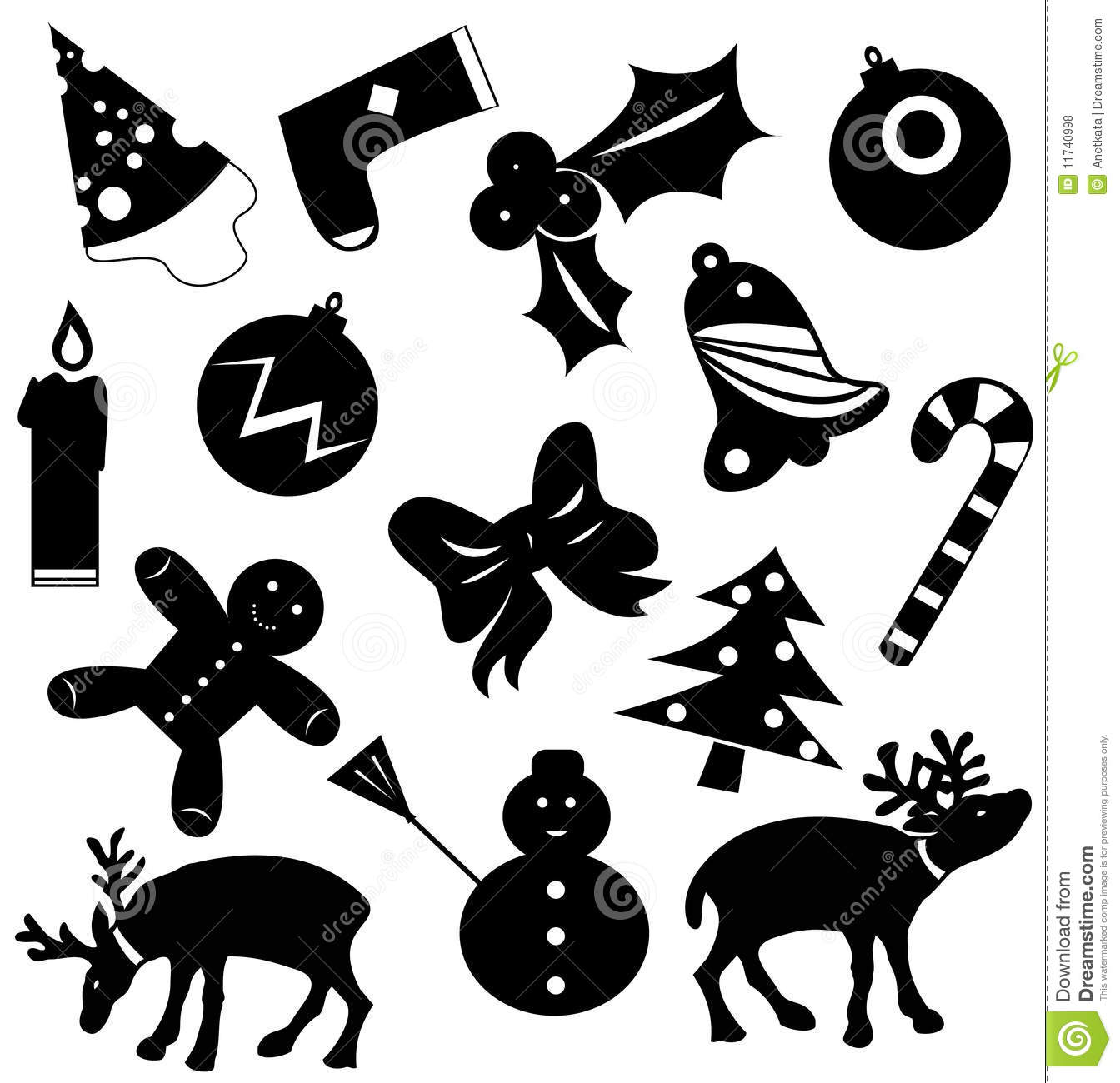 Vector Silhouettes Christmas Icons