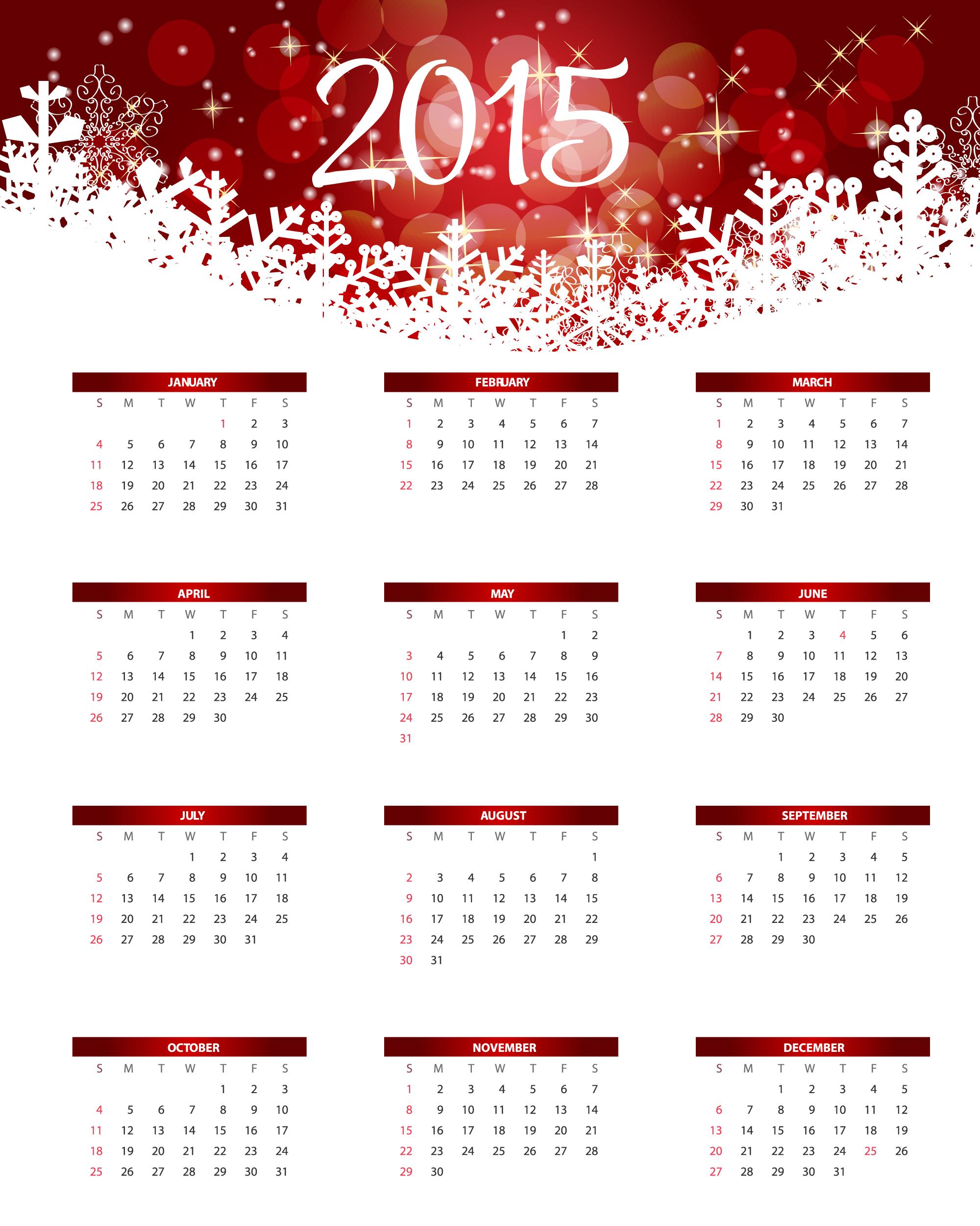 2015 Calendar Vector Free