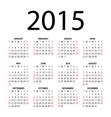 12 2015 Calendar Vector Images