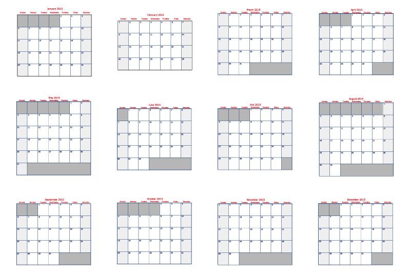 2015 Printable Calendar Grid
