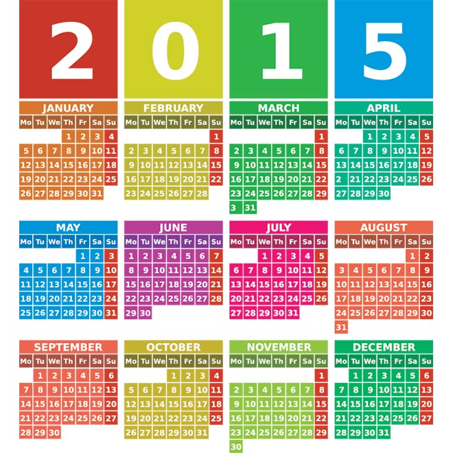 2015 Year Calendar Template