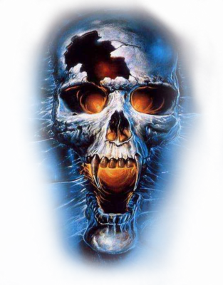 Blue Evil Wicked Scary Skulls