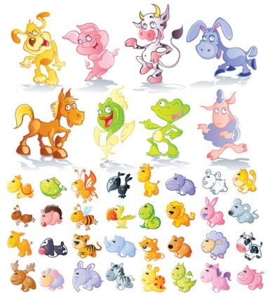 10 Cute Cartoon Animals Vector Images