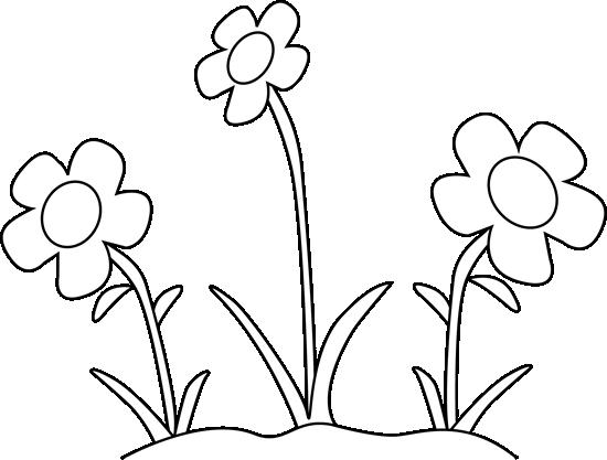 Flower Garden Clip Art Black and White
