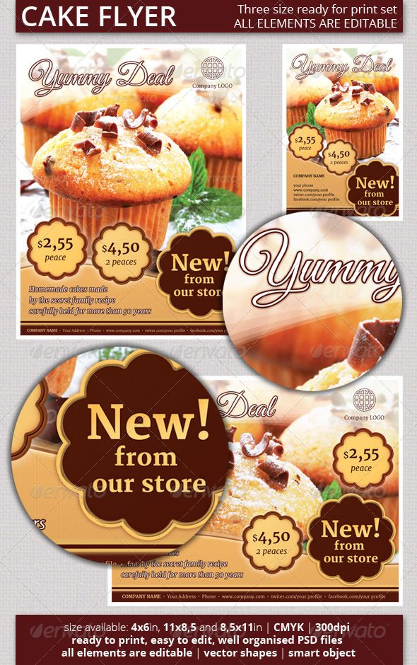 Cake Flyer Template Free Ukransoochico - Bakery flyer templates free