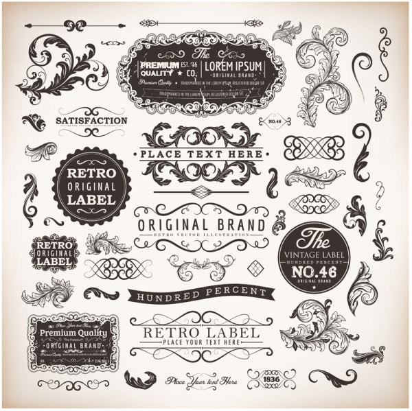 Free Vintage Vector Label Borders